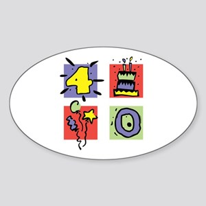 Color Block 40 Oval Sticker