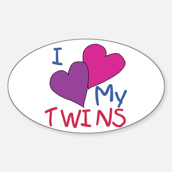 I heart my twins Oval Decal