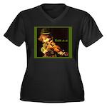 The Irish Fiddler Women's Plus Size V-Neck Dark T-
