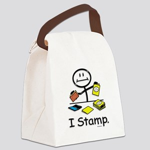 Stamping Stick Figure Canvas Lunch Bag