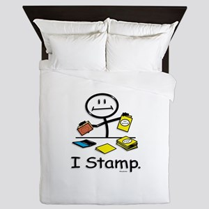 Stamping Stick Figure Queen Duvet