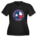 Texas Flag OES Women's Plus Size V-Neck Dark T-Shi
