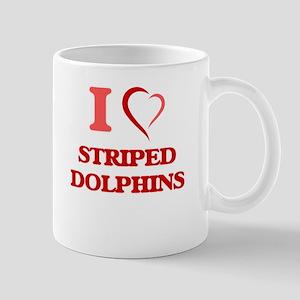 I Love Striped Dolphins Mugs