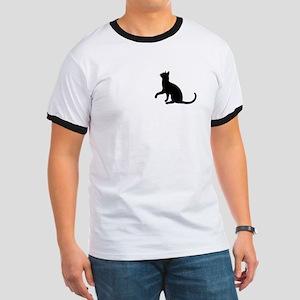 Black Cat Silhouette Ringer T