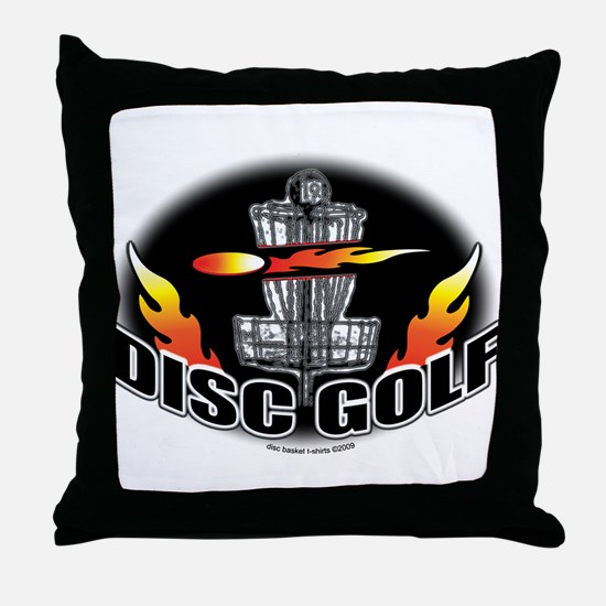 Flammin Disc Golf Throw Pillow