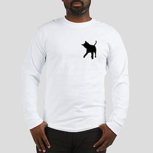 Black Kitten Silhouette Long Sleeve T-Shirt