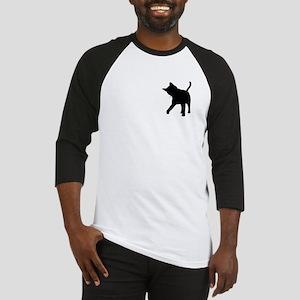 Black Kitten Silhouette Baseball Jersey