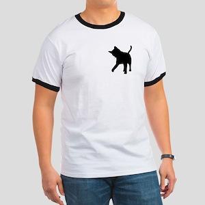 Black Kitten Silhouette Ringer T