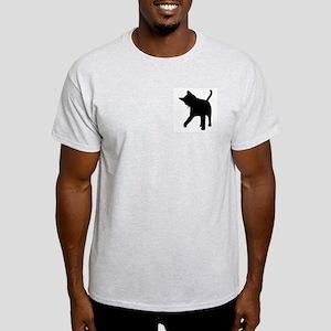 Black Kitten Silhouette Ash Grey T-Shirt