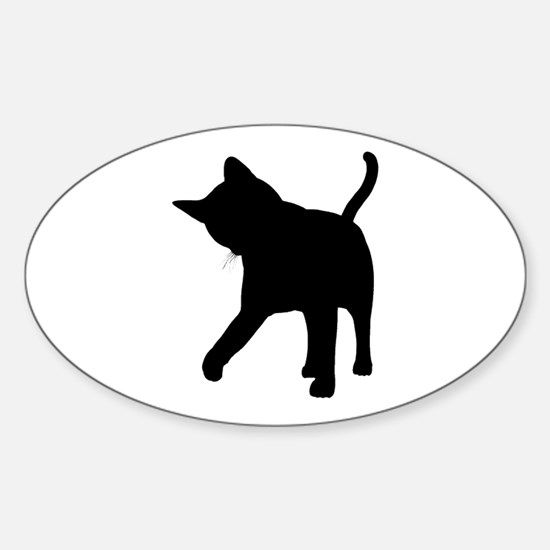 Black Kitten Silhouette Oval Decal