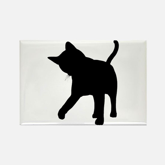 Black Kitten Silhouette Rectangle Magnet