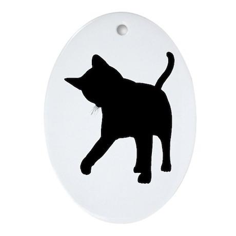 Black Kitten Silhouette Oval Ornament