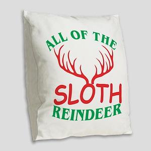 All Of The Sloth Reindeer Chri Burlap Throw Pillow