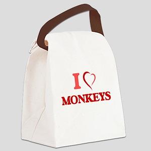I Love Monkeys Canvas Lunch Bag