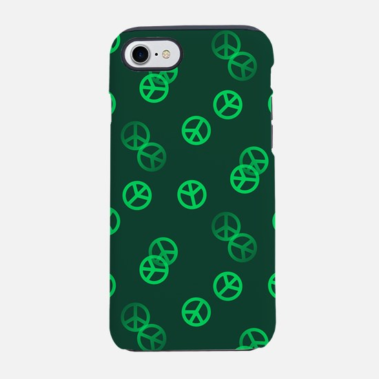 Green Peace Sign Pattern iPhone 7 Tough Case