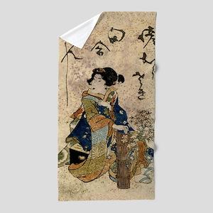Vintage Japanese Art Woman Beach Towel