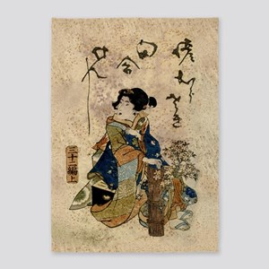 Vintage Japanese Art Woman 5'x7'Area Rug