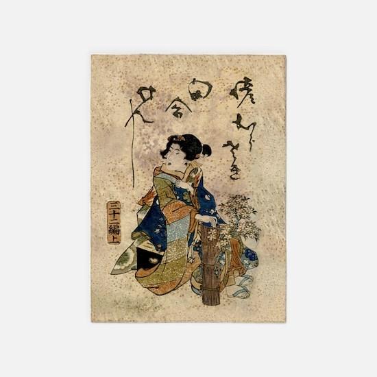 Vintage Japanese Art Woman 5'x7'Area Rug
