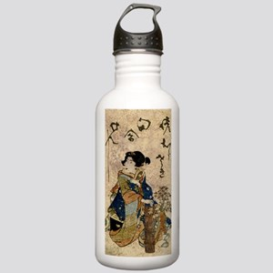 Vintage Japanese Art Woman Water Bottle