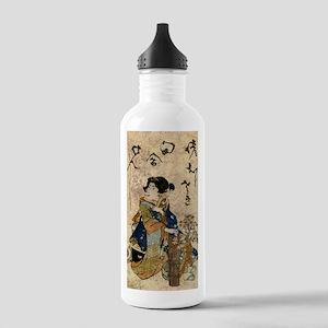Vintage Japanese Art Woman Water Bottle