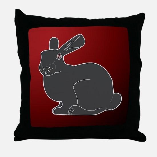 Crimson Death Bunny Throw Pillow