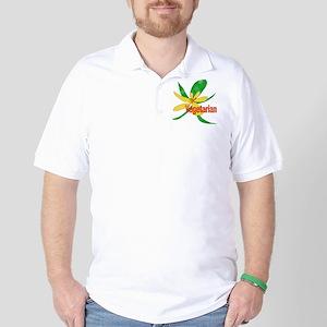 Vegetarian Flower Golf Shirt