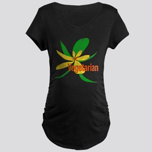 Vegetarian Flower Maternity Dark T-Shirt