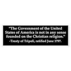 US government not Christian bumper sticker
