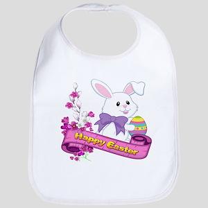 White Easter Bunny Banner Baby Bib