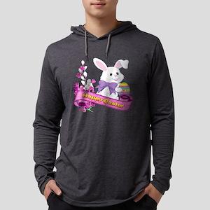 White Easter Bunny Banner Long Sleeve T-Shirt