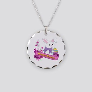 White Easter Bunny Banner Necklace Circle Charm