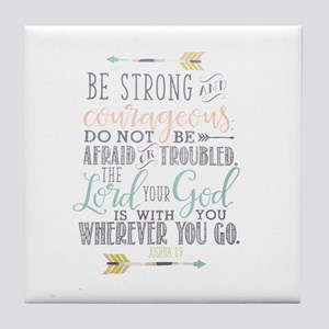 Joshua 1:9 Bible Verse Tile Coaster