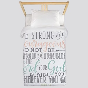Joshua 1:9 Bible Verse Twin Duvet Cover