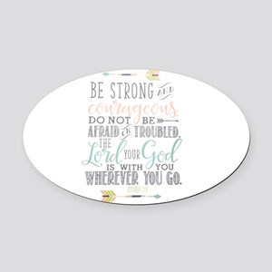 Joshua 1:9 Bible Verse Oval Car Magnet