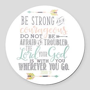 Joshua 1:9 Bible Verse Round Car Magnet