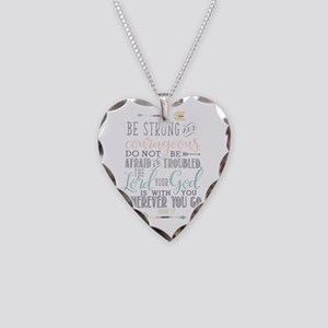 Joshua 1:9 Bible Verse Necklace Heart Charm