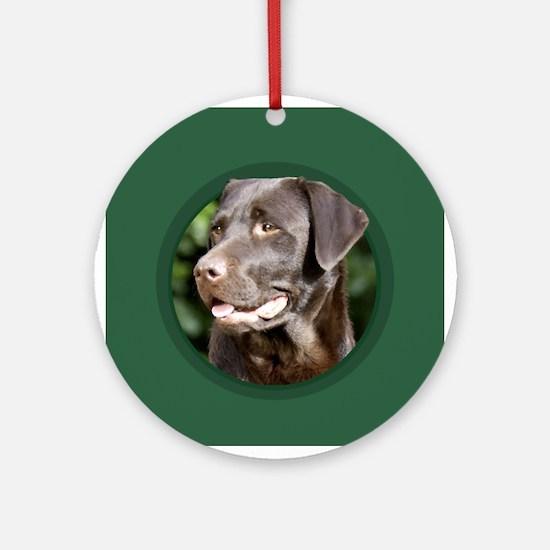 Chocolate Labrador Retriever Round Green Ornament