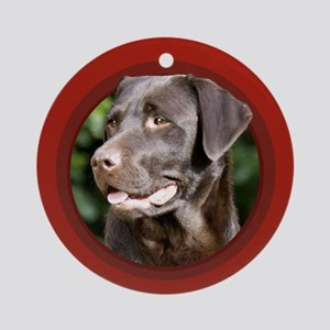 Chocolate Labrador Retriever Round Red Ornament