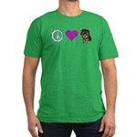 Peace Love and Yorkie Men's Fitted T-Shirt (dark)