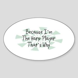 Because Harp Player Oval Sticker