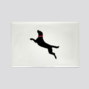 Black Dock Jumping Dog Rectangle Magnet