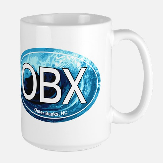 OBX Outer Banks NC Wave Oval Large Mug