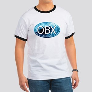 OBX Outer Banks NC Wave Oval Ringer T