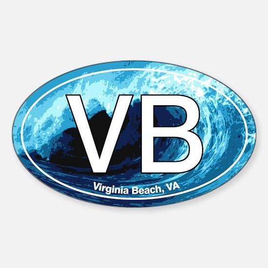 VB Virginia Beach Wave Oval Oval Decal