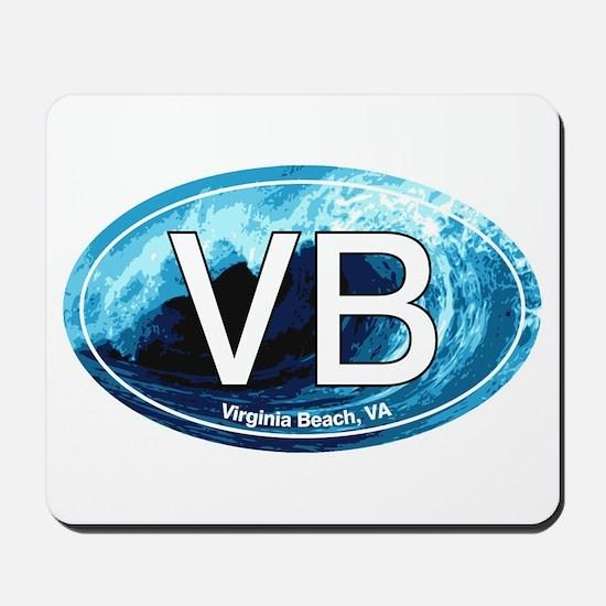 VB Virginia Beach Wave Oval Mousepad