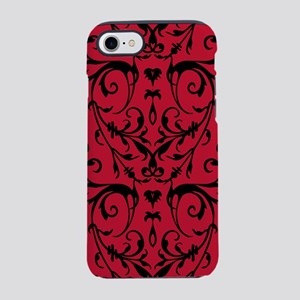 Red And Black Damask Pattern iPhone 7 Tough Case