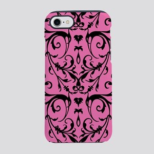 Pink And Black Damask Pattern iPhone 7 Tough Case