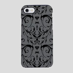 Grey And Black Damask Pattern iPhone 7 Tough Case