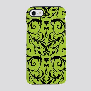 Green And Black Damask Pattern iPhone 7 Tough Case