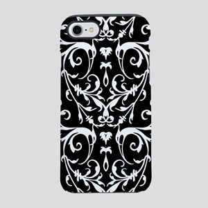 Black And White Damask Pattern iPhone 7 Tough Case
